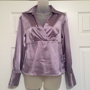 AB Studio Shirt Size Small Blouse Purple Top Side
